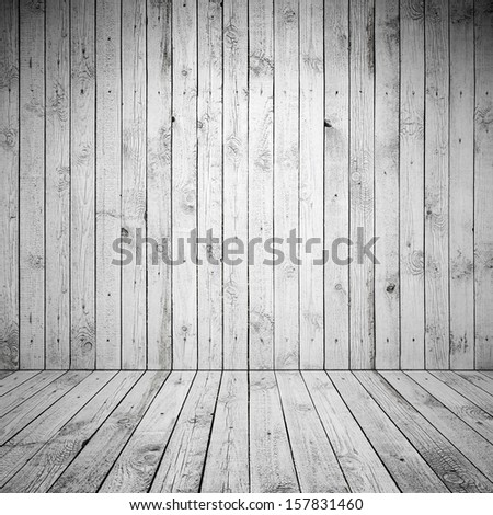 Abstract empty room interior with white wooden wall and floor - stock photo