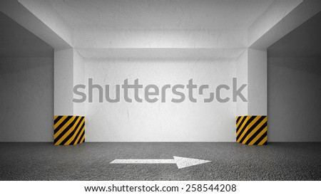 Abstract empty underground parking interior, white wall. 3d illustration - stock photo
