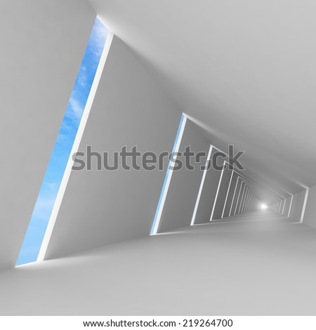 Abstract empty white 3d interior background with corridor perspective and sky - stock photo