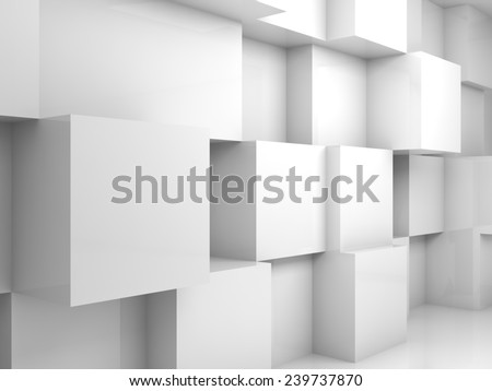 Abstract empty white 3d interior with cubes on the wall - stock photo