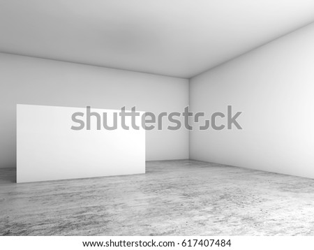 Abstract empty white interior background, blank banner stand on concrete floor, contemporary cg architecture design. 3d illustration