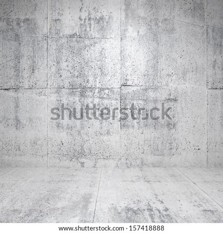 Abstract empty white interior with concrete walls and floor - stock photo