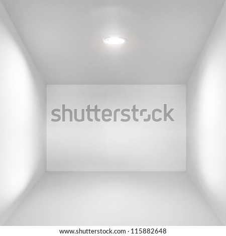 Abstract empty white interior with simple spotlight illumination - stock photo