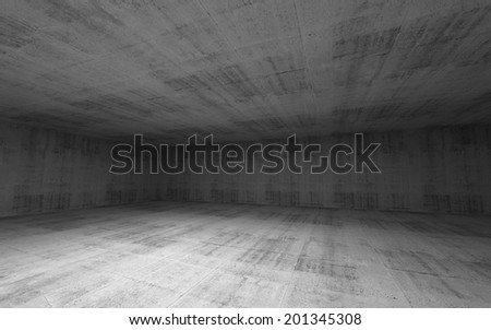 Abstract empty wide room concrete interior. 3d render - stock photo