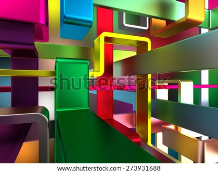 abstract endless colorful metal labyrinth  - stock photo