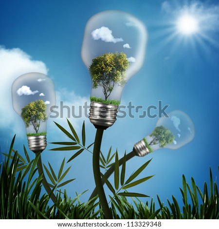 Abstract energy savings and environmental backgrounds - stock photo