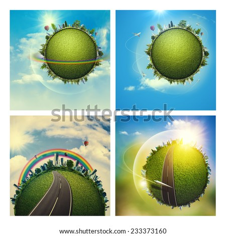 Abstract environmental backgrounds set with Earth globe for your design - stock photo