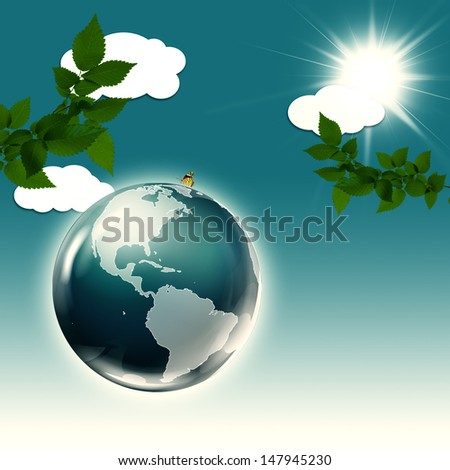 Abstract environmental backgrounds with Earth globe - stock photo