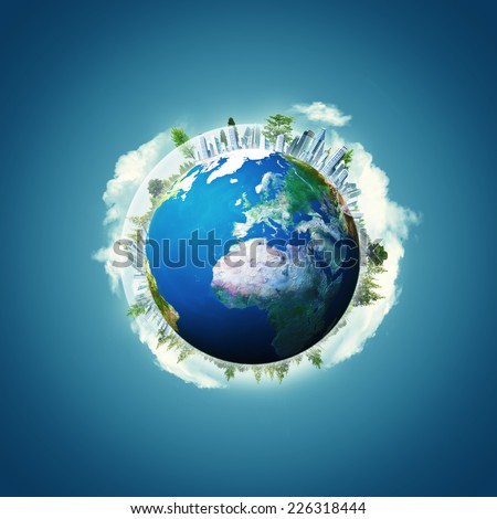 Abstract environmental backgrounds with Earth planet. NASA imagery used - stock photo