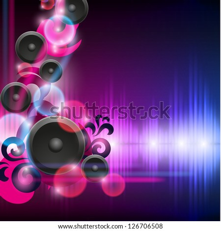 Abstract equalizer background with speakers. Blue-Purple wave. Raster version of the loaded vector. - stock photo