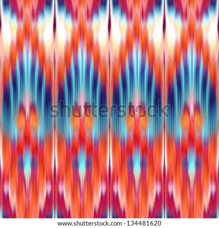 abstract ethnic coral red blue seamless kaleidoscope pattern, textile ornament - stock photo