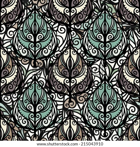 Abstract ethnic seamless pattern with leaves. Floral repeating background. Endless print texture. Fabric design. Wallpaper - raster version  - stock photo