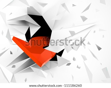 abstract explosion with red arrow out - stock photo