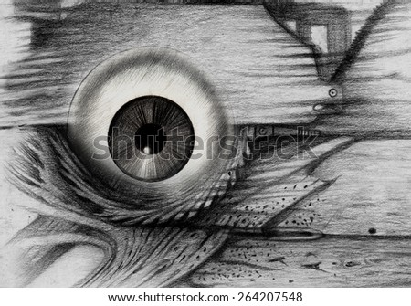 Abstract eye surreal.Hand pencil drawing on paper.