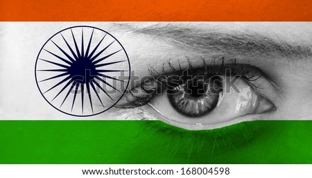 abstract eye with India flag - stock photo