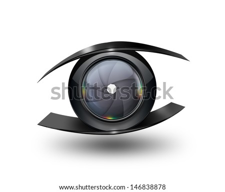 Abstract eye with the camera lens - stock photo