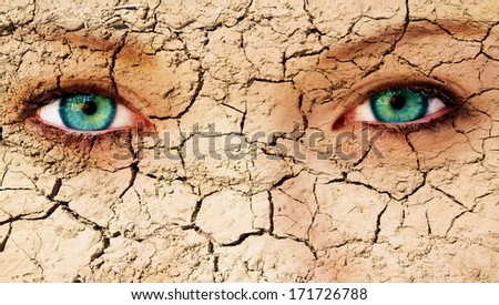 Abstract face of a woman with cracks  - stock photo
