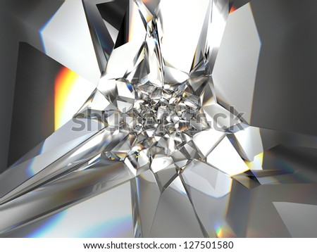 Abstract faceted crystal glass background - stock photo