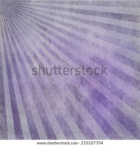 abstract faded retro background, purple and white distressed vintage sunburst design pattern of stripes or lines radiating from corner, grunge background texture - stock photo