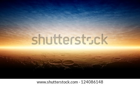 Abstract fantastic background - beautiful sunset on planet Mars after terraforming. Elements of this image furnished by NASA. - stock photo