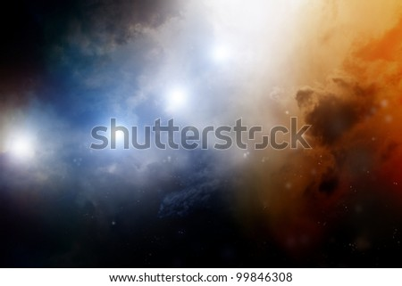 Abstract fantastic background - dark sky looks like nebula in galaxy - stock photo