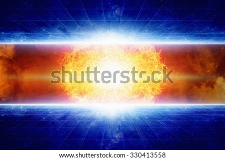 Abstract fantastic background - huge star explosion in space, red fire, glowing galaxy and stars. Elements of this image furnished by NASA - stock photo