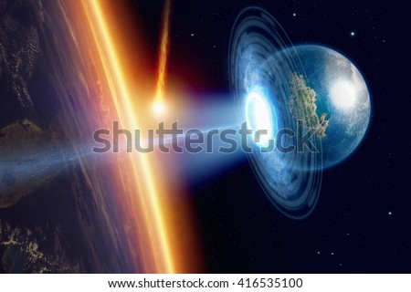 Abstract fantastic background - human race salvation from asteroid impact; escape from dying planet Earth; end of world. Elements of this image furnished by NASA - stock photo