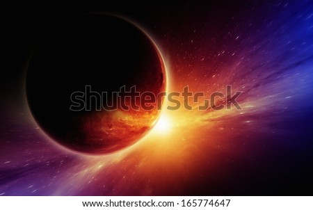 Abstract fantastic background - red planet in dark space, bright star. Elements of this image furnished by NASA