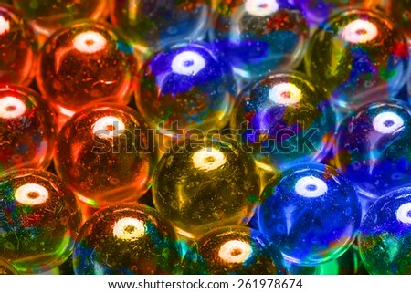 Abstract fantastic texture of colored glass beads