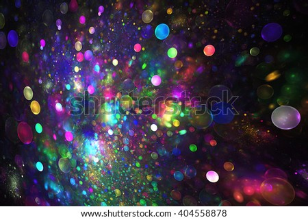 Abstract fantasy color drops on black background. Creative fractal design for greeting cards or t-shirts. - stock photo