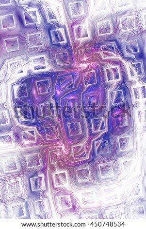 Abstract fantasy color splashes on white background. Creative blue and purple fractal design for greeting cards or t-shirts. - stock photo