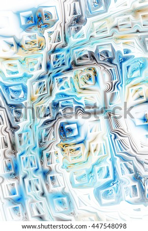 Abstract fantasy color splashes on white background. Creative grey and blue fractal design for greeting cards or t-shirts. - stock photo