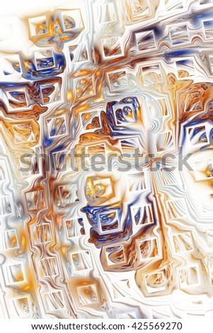 Abstract fantasy color splashes on white background. Creative orange, brown and blue fractal design for greeting cards or t-shirts. - stock photo