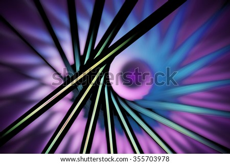 Abstract fantasy figures on blurred background. Computer-generated fractal in faded green, violet, pink and black colors. - stock photo