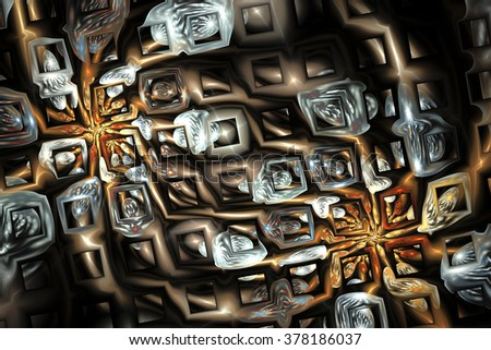 Abstract fantasy metal ornament on black background. Creative fractal design in orange, brown and pale blue colors.