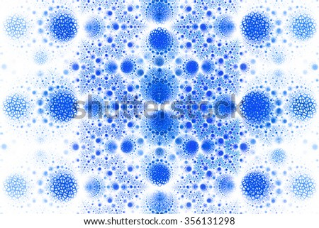 Abstract fantasy ornament on white background. Symmetrical pattern. Computer-generated fractal in bright blue color. - stock photo