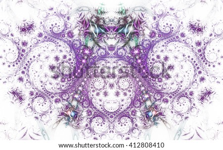 Abstract fantasy purple spiral ornament  on white background. Symmetrical pattern. Creative fractal design for greeting cards or t-shirts. - stock photo