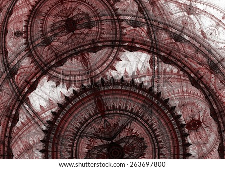 Abstract fantasy red and copper steampunk design - stock photo