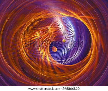 Abstract fantasy tunnel with yellow and purple lines. Fractal artwork for creative design. - stock photo