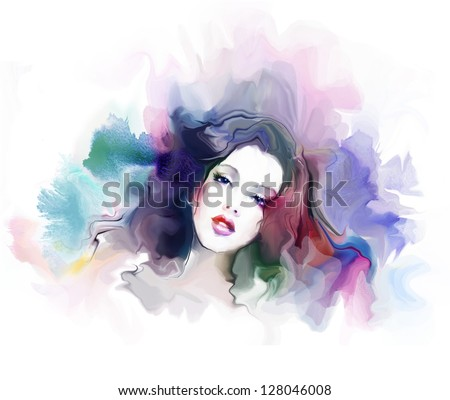 Abstract fashion illustration. Portrait of a beautiful elegance woman - stock photo