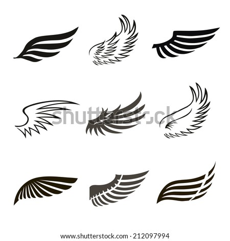 Abstract feather angel or bird wings icons set isolated illustration