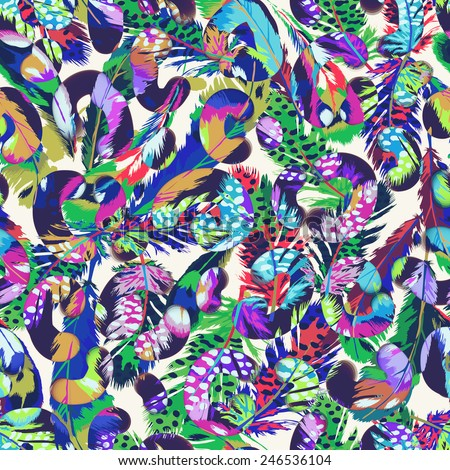 Abstract feathers and spot print ~ seamless background - stock photo