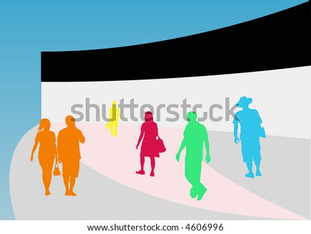 Abstract Female and Male Shoppers
