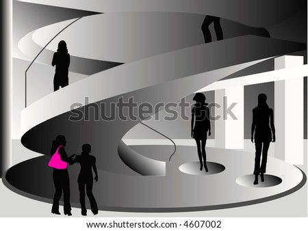 Abstract Female and Male Shoppers Building