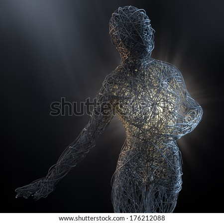 Abstract female sculpture made out of countless	threads - stock photo