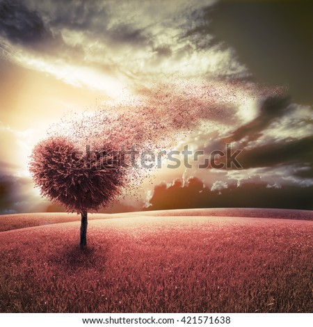 Abstract field with heart shape tree under blue sky. Beauty nature. Valentine concept background - stock photo