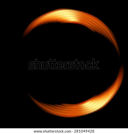 Abstract fiery shape circle on a dark background. Raster version. - stock photo