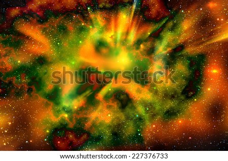 Abstract fiery space background with nebulae, stars and the explosion of a supernova in deep space