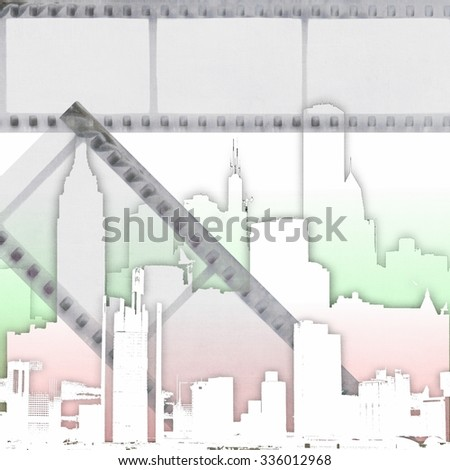 Abstract film strip background with stylized city skyline - stock photo