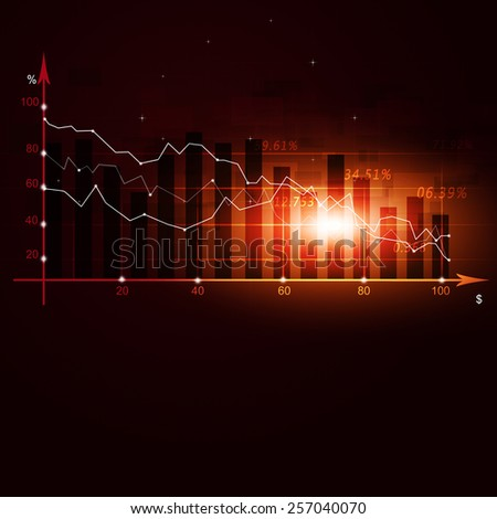 abstract finance crisis diagram on world map red business background - stock photo